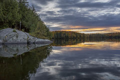 Shoreline of an Autumn Lake at Sunset - Ontario, Canada Stock Image
