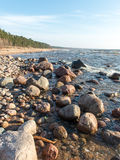Shoreline of Baltic sea beach with rocks and sand dunes Stock Photo