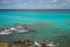 Shoreline in the Carribean with clear water. Clear turquoise water of the Carribean Stock Images