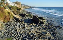 Shoreline at Cress Street Beach  in Laguna Beach, California. Royalty Free Stock Images