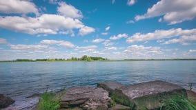 Shoreline of Detroit river stock video footage