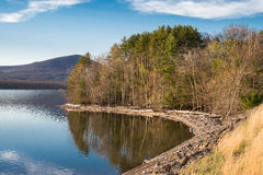 Shoreline du réservoir d'Ashokan pris pendant l'heure d'or Photos libres de droits