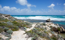 Shoreline Dunes. Turquoise Indian Ocean seascape with rugged shoreline dunes at Rottnest Island in Western Australia Royalty Free Stock Photography