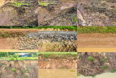 Shoreline erosion. Collection of surface water shoreline erosion collapses Stock Photography