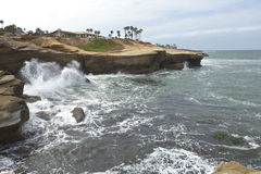 Shoreline erosion in Southern California. Shoreline erosion and alternative solution in Point Loma Southern California Royalty Free Stock Photo