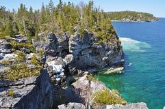 Shoreline Georgian Bay Ontario, Canada. The rugged shoreline of the Bruce Peninsula in Ontario, Canada royalty free stock images