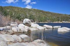 Shoreline of Hemet Lake. View of the rocky shoreline at Hemet Lake in Southern California Royalty Free Stock Images