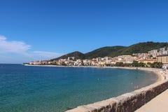 Shoreline i Ajaccio Corse Frankrike Royaltyfri Fotografi