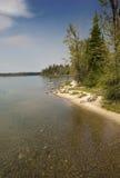Shoreline of Jenny Lake on sunny day, Jackson Hole, Wyoming. Stock Photo