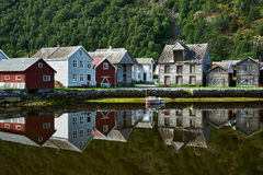 Shoreline Laerdal Norway historic village. With old wood houses royalty free stock photos