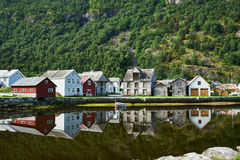 Shoreline Laerdal Norway historic village stock images