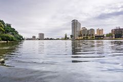 The Shoreline of Lake Merritt on a cloudy day, Oakland, San Francisco bay area, California stock photography