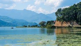 Shoreline of the lake in Pokhara region, Nepal. Shoreline of the lake with some green algae on the surface in Pokhara region, Nepal Stock Photo