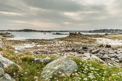 Shoreline at low tide, Brittany, France Royalty Free Stock Photos
