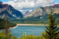 Shoreline of Lower Two Medicine Lake Stock Photography