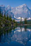 Shoreline of moraine lake Stock Images