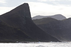 Shoreline and mountains on Cape Peninsula Stock Photo