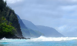 Shoreline of the Napali coast of Kauai Hawaii Royalty Free Stock Images