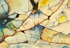 Shoreline No. 5 - watercolor and ink. One of a series of paintings derived from images on the shoreline Royalty Free Stock Photos