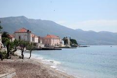 Shoreline of Orebic town on Peljesac peninsula Royalty Free Stock Photography