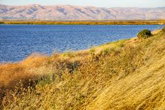 Shoreline Park under the sunset light, Mountain View, San Francisco bay area, California stock image