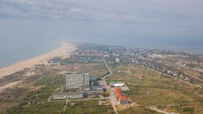Shoreline photographed from drone. Sea, sand and hotels on the beach in the Odessa region. Ukraine. Shoreline photographed from drone. Sea, sand and hotels on royalty free stock photo