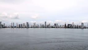 Shoreline of Playa de Boca Grande in Cartagena - Colombia stock video footage