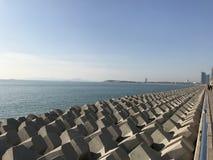 The shoreline of  Qingdao stock photography