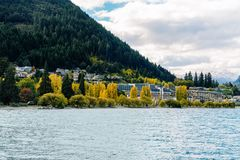 The Shore Of Queenstown New Zealand As Seen From Lake Wakatipu stock photo