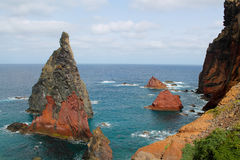 Shoreline and rock. Shoreline and a rock formation in Madeira Royalty Free Stock Photo