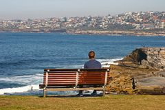 Man sitting on wood bench looking at panorama of idyllic and amazing seaside landscape of jagged shore, rocks, hillside buildings. Shoreline at Shark Point Park royalty free stock photo