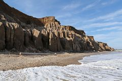 Montauk Travel. The shoreline showing Hoodoos on a beach in Montauk Royalty Free Stock Images