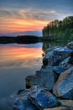 Shoreline Sunset. Beautiful sunset on Chambers Lake, Pennsylvania stock photography