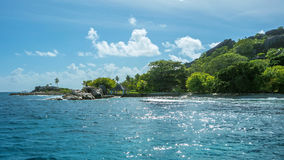 Shoreline of a tropical island in the Seychelles Royalty Free Stock Image