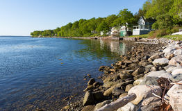 Shoreline and vacation cottages in Northport, Maine Stock Photo