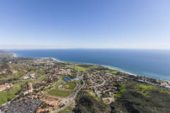 Shoreline View Aerial Malibu California. Aerial view of Malibu and the Santa Monica Bay near Los Angeles, California Stock Photos