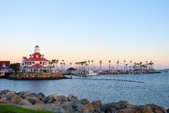 Shoreline Village. At Long Beach , CA  in sunset time panorama view Stock Images