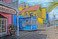 Shoreline Village Long Beach California. Colorful cartoon book looking rendition of the shops at Shoreline Village in Long Beach California Royalty Free Stock Image