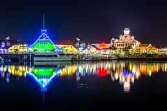 Shoreline Village and Parker's Lighthouse at night  Royalty Free Stock Image
