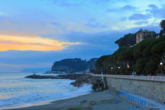 The shoreline and waterfront of Celle Ligure. Royalty Free Stock Photo