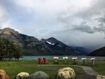 The shoreline of waterton lake on a windy summer`s day with an i royalty free stock photos