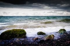 Shoreline With Wild Sea And Storm Wind Stock Photos