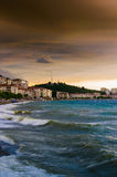 Shoreline With Wild Sea And Storm Wind royalty free stock photography