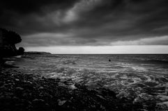 Shoreline With Wild Sea And Storm Wind Stock Images