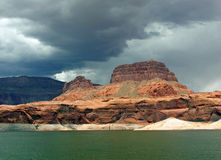 Shorelne with sandstone buttes on Lake Powell of Lake Powell. Stock Photography