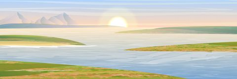 The shores of the bay. Mountains and sky royalty free illustration