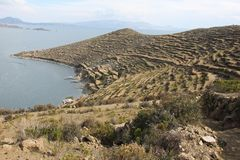 The shores of Isla del Sol. The shores of the Island of Isla del Sol in on the Bolivian side of Lake Titicaca stock photos