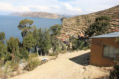 The shores of Isla del Sol. The shores of the Island of Isla del Sol in on the Bolivian side of Lake Titicaca stock photo