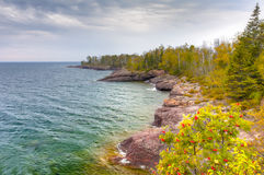Shores of Lake Superior at Gooseberry State Park in Vertical Royalty Free Stock Images