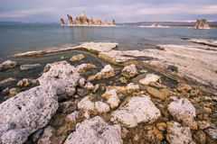 The shores of Mono Lake California. This picture shows the rocks that were formed on the shore of Mono Lake California stock images